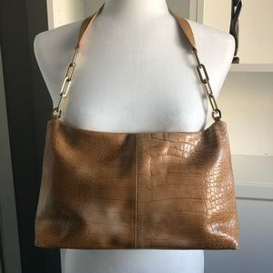 Sagi made in Italy tan embossed leather hobo